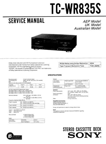 SONY TC-WR835S STEREO CASSETTE TAPE DECK SERVICE MANUAL INC BLK DIAG PCBS SCHEM DIAGS AND PARTS LIST 36 PAGES ENG