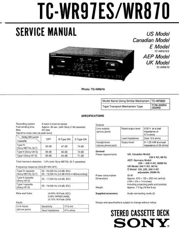 SONY TC-WR870 STEREO CASSETTE TAPE DECK SERVICE MANUAL INC BLK DIAG PCBS SCHEM DIAGS AND PARTS LIST 31 PAGES ENG