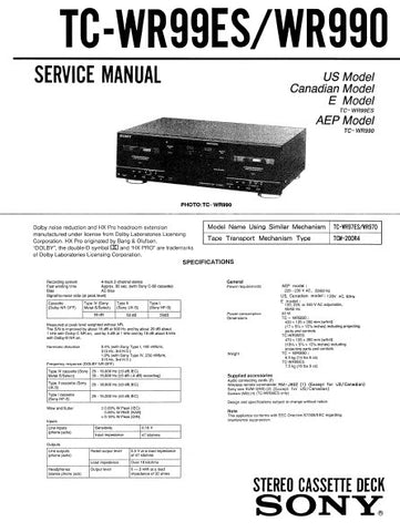 SONY TC-WR99ES TC-WR990 STEREO CASSETTE TAPE DECK SERVICE MANUAL INC BLK DIAG PCBS SCHEM DIAGS AND PARTS LIST 30 PAGES ENG