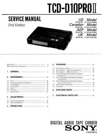 SONY TCD-D10PROII DIGITAL AUDIO TAPE RECORDER SERVICE MANUAL INC BLK DIAGS PCBS SCHEM DIAGS AND PARTS LIST 76 PAGES ENG