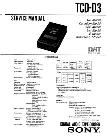 SONY TCD-D3 DIGITAL AUDIO TAPE RECORDER SERVICE MANUAL INC BLK DIAG PCBS SCHEM DIAGS AND PARTS LIST 59 PAGES ENG