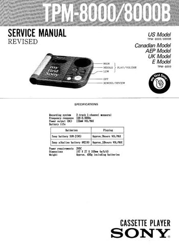 SONY TPM-8000 TPM-8000B CASSETTE PLAYER SERVICE MANUAL INC PCB SCHEM DIAG AND PARTS LIST 6 PAGES ENG
