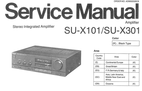 TECHNICS SU-X101 SU-X301 STEREO INTEGRATED AMPLIFIER SERVICE MANUAL INC BLK DIAG PCBS SCHEM DIAG AND PARTS LIST 22 PAGES ENG