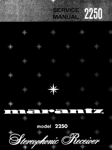 MARANTZ 2250 STEREOPHONIC RECEIVER SERVICE MANUAL INC PCBS US AND EURO SCHEM DIAGS AND PARTS LIST 42 PAGES ENG