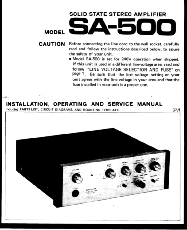 PIONEER SA-500 SOLID STATE STEREO AMPLIFIER INSTALLATION