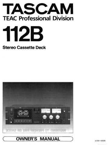 TASCAM 112B STEREO CASSETTE TAPE DECK OWNER'S MANUAL INC BLK DIAG 4 PAGES ENG