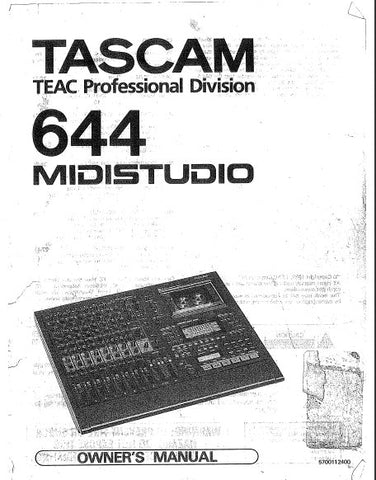 TASCAM 644 MIDISTUDIO OWNER'S MANUAL INC CONN DIAG BLK DIAG AND LEVEL DIAG 56 PAGES ENG