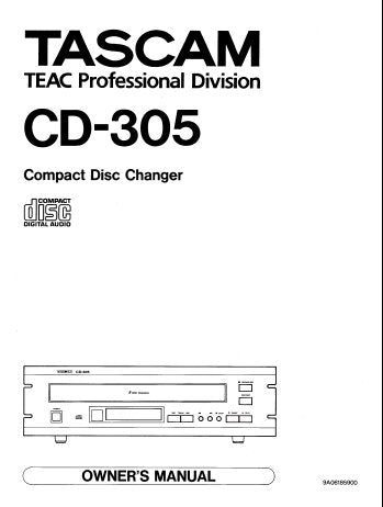 TASCAM CD-305 CD CHANGER OWNER'S MANUAL INC TRSHOOT GUIDE 16 PAGES ENG