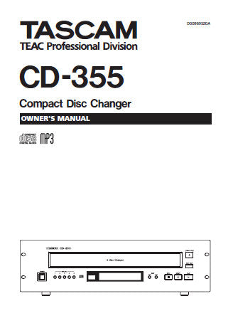 TASCAM CD-355 CD CHANGER OWNER'S MANUAL INC CONN DIAG AND TRSHOOT GUIDE 18 PAGES ENG