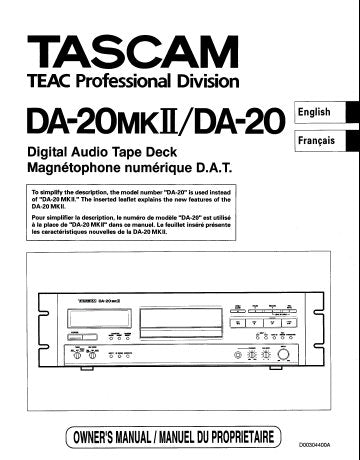 TASCAM DA-20 DA-20MKII DIGITAL AUDIO TAPE DECK OWNER'S MANUAL INC CONN DIAGS AND TRSHOOT GUIDE 56 PAGES ENG FRANC