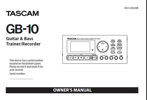 tascam gb 10 guitar and bass trainer owner s manual inc conn diags rh themanualsservice com