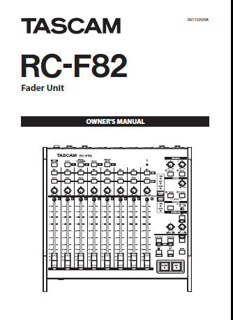 TASCAM RC-F82 FADER UNIT OWNER'S MANUAL INC CONN DIAGS AND