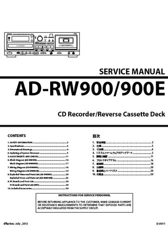 TEAC AD-RW900 AD-RW900G CD RECORDER REVERSE CASSETTE DECK SERVICE MANUAL INC BLK DIAG PCBS WIRING DIAGS AND PARTS LIST 50 PAGES ENG