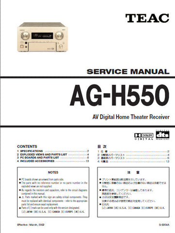 TEAC AG-H550 AV DIGITAL HOME THEATER RECEIVER SERVICE MANUAL INC PCBS AND PARTS LIST 13 PAGES ENG