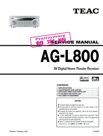 TEAC AG-L800 AV DIGITAL HOME THEATER RECEIVER SERVICE MANUAL INC BLK DIAG PCBS SCHEM DIAGS AND PARTS LIST 20 PAGES ENG