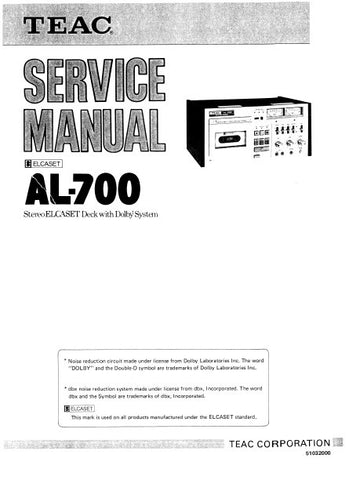 TEAC AL-700 STEREO ELCASET DECK SERVICE MANUAL INC BLK DIAG PCBS SCHEM DIAGS AND PARTS LIST 91 PAGES ENG