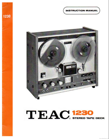 TEAC 1230 STEREO TAPE DECK INSTRUCTION MANUAL INC CONN DIAG AND TRSHOOT GUIDE 22 PAGES ENG