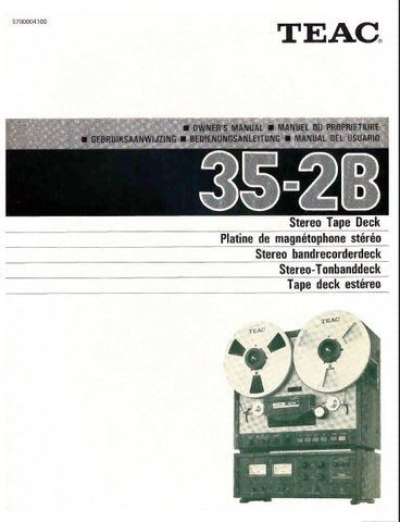 TEAC 35-2B STEREO TAPE DECK OWNER'S MANUAL INC CONN DIAG AND BLK DIAG 27 PAGES ENG