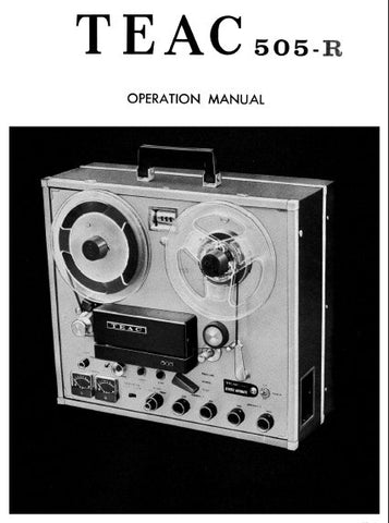 TEAC 505-R STEREO REEL TO REEL TAPE RECORDER OPERATION MANUAL INC SCHEMS AND CONN DIAG 12 PAGES ENG