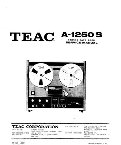 TEAC A-1250 A-1250S A-2500 STEREO TAPE DECK SERVICE MANUAL INC PCBS SCHEM DIAGS AND PARTS LIST 70 PAGES ENG