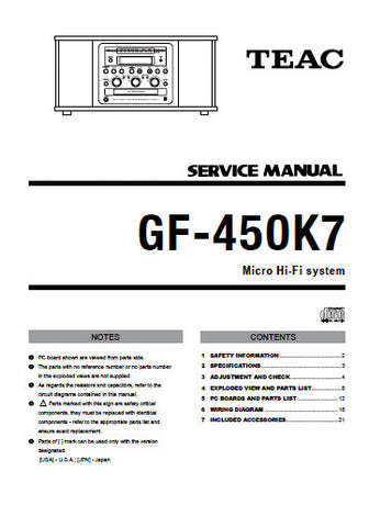 TEAC GF-450K7 MICRO HIFI STEREO SYSTEM SERVICE MANUAL INC PCBS SCHEM DIAGS AND PARTS LIST 25 PAGES ENG