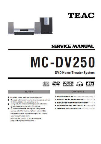 TEAC MC-DV250 DVD HOME THEATER SERVICE MANUAL INC PCBS SCHEM DIAGS AND PARTS LIST 30 PAGES ENG