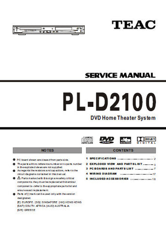 TEAC PL-D2100 DVD HOME THEATER SYSTEM SERVICE MANUAL INC PCBS SCHEM DIAGS AND PARTS LIST 28 PAGES ENG