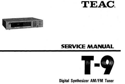 TEAC T-9 DIGITAL SYNTHESIZER AM FM TUNER SERVICE MANUAL INC BLK DIAG SCHEM DIAG PCBS AND PARTS LIST 31 PAGES ENG