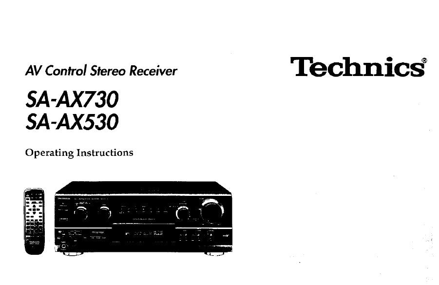 TECHNICS SA-AX530 SA-AX730 AV CONTROL STEREO RECEIVER OPERATING INSTRUCTIONS 38 PAGES ENG