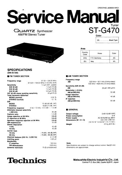 TECHNICS ST-G470 QUARTZ SYNTHESIZER AM FM STEREO TUNER SERVICE MANUAL INC BLK DIAG PCBS SCHEM DIAGS AND PARTS LIST 18 PAGES ENG
