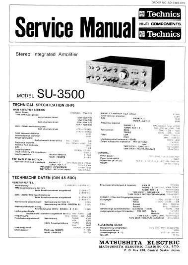 TECHNICS SU-3500 STEREO INTEGRATED AMPLIFIER SERVICE MANUAL INC PCBS SCHEM DIAG AND PARTS LIST 8 PAGES ENG