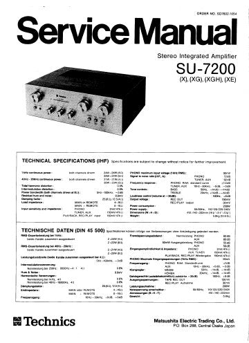 TECHNICS SU-7200 SU-7300 STEREO INTEGRATED AMPLIFIER SERVICE MANUAL INC BLK DIAGS PCBS SCHEM DIAGS AND PARTS LIST 21 PAGES ENG