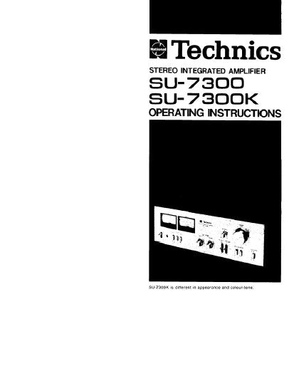 TECHNICS SU-7300 SU-7300K STEREO INTEGRATED AMPLIFIER OPERATING INSTRUCTIONS 20 PAGES ENG