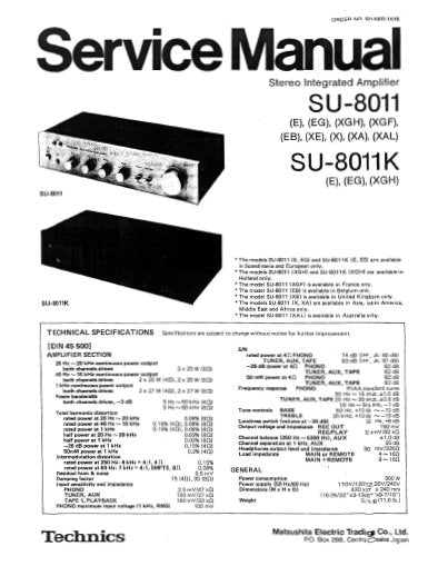 TECHNICS SU-8011 SU-8011K STEREO INTEGRATED AMPLIFIER SERVICE MANUAL INC BLK DIAG PCBS SCHEM DIAG AND PARTS LIST 16 PAGES ENG