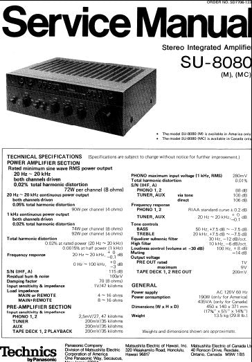 TECHNICS SU-8080 (M) (MC) STEREO INTEGRATED AMPLIFIER SERVICE MANUAL INC BLK DIAG PCBS SCHEM DIAGS AND PARTS LIST 28 PAGES ENG