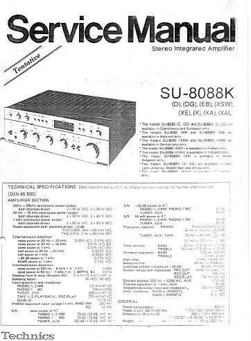 TECHNICS SU-8088K STEREO INTEGRATED AMPLIFIER SERVICE MANUAL INC BLK DIAG PCBS SCHEM DIAGS AND PARTS LIST 28 PAGES ENG
