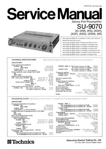 TECHNICS SU-9070 STEREO FLAT PREAMPLIFIER SERVICE MANUAL INC BLK DIAG PCBS SCHEM DIAG AND PARTS LIST 19 PAGES ENG