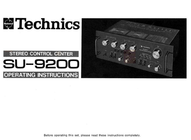 TECHNICS SU-9200 STEREO CONTROL CENTER OPERATING INSTRUCTIONS 16 PAGES ENG