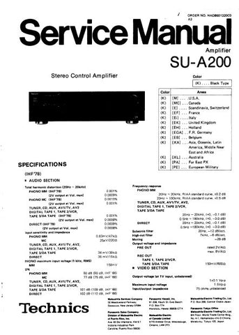 TECHNICS SU-A200 STEREO CONTROL AMPLIFIER SERVICE MANUAL INC BLK DIAG PCBS SCHEM DIAGS AND PARTS LIST 22 PAGES ENG
