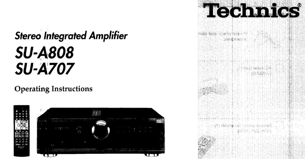 TECHNICS SU-A707 SU-A808 STEREO INTEGRATED AMPLIFIER OPERATING INSTRUCTIONS 16 PAGES ENG