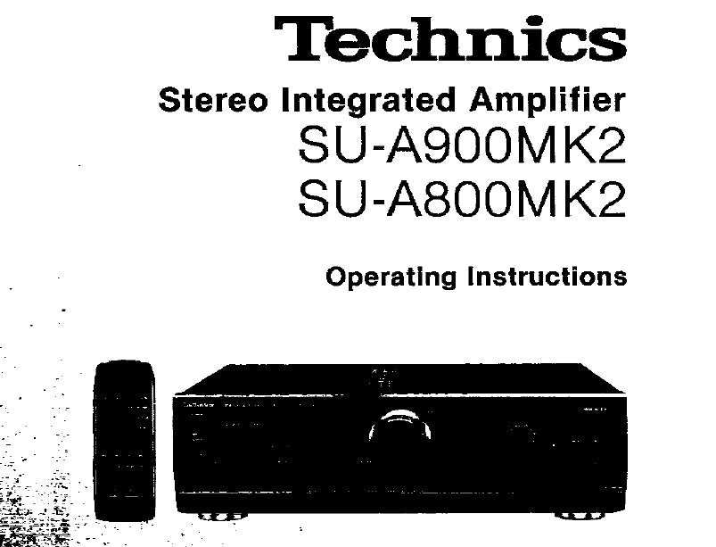 TECHNICS SU-A800MK2 SU-900MK2 STEREO INTEGRATED AMPLIFIER OPERATING INSTRUCTIONS 12 PAGES ENG