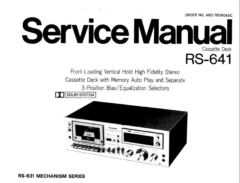 TECHNICS RS-641 STEREO CASSETTE TAPE DECK SERVICE MANUAL