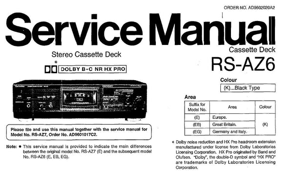 TECHNICS RS-AZ6 STEREO CASSETTE TAPE DECK SERVICE MANUAL