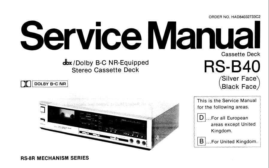 TECHNICS RS-B40 STEREO CASSETTE TAPE DECK SERVICE MANUAL
