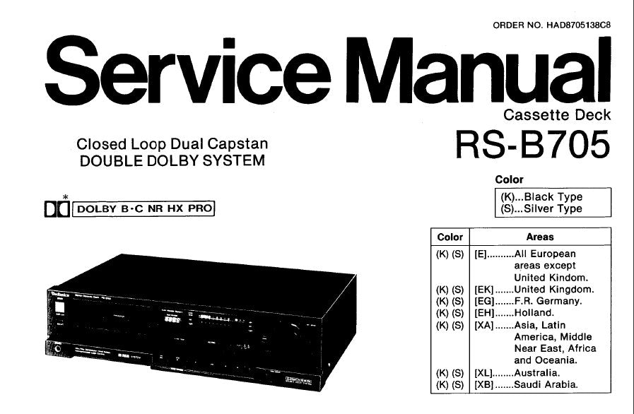 TECHNICS RS-B705 STEREO CASSETTE TAPE DECK SERVICE MANUAL