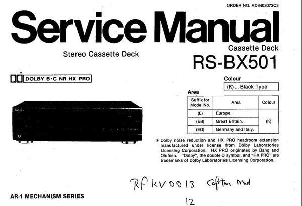 TECHNICS RS-BX501 STEREO CASSETTE TAPE DECK SERVICE MANUAL