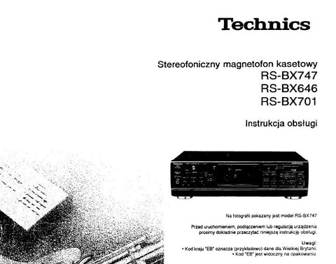 TECHNICS RS-BX646 RS-BX701 RS-BX747 STEREOFONICZNY