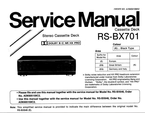 TECHNICS RS-BX701 STEREO CASSETTE TAPE DECK SERVICE MANUAL