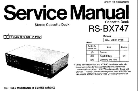 TECHNICS RS-BX747 STEREO CASSETTE TAPE DECK SERVICE MANUAL