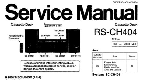TECHNICS RS-CH404 STEREO CASSETTE TAPE DECK SERVICE MANUAL